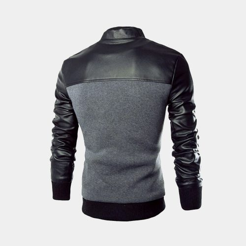 Grey Fashion Leather Jacket For Men Fashion Collection Free Shipping