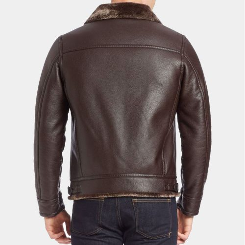 Guess Faux Fur-Lined Leather Bomber Jacket Men Brown Fashion Collection Free Shipping