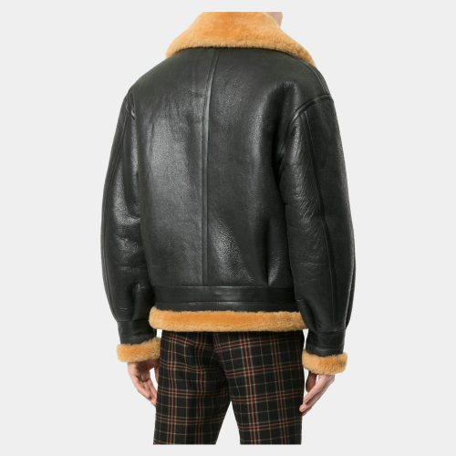 Black Leather Blazer Men With Wool Fashion Collection Free Shipping