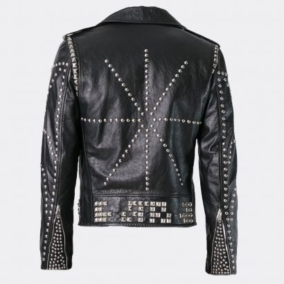 Real Fashion Handmade Black Studded Mens Leather Jackets For Sale Fashion Collection Free Shipping