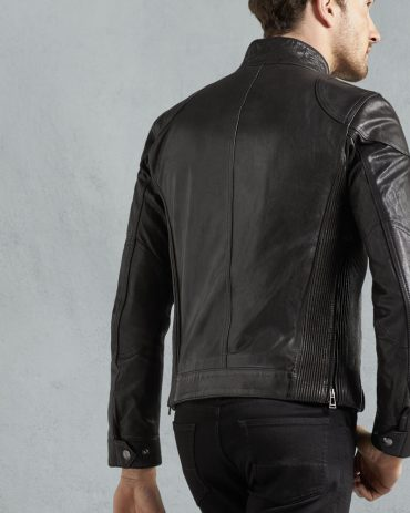 Fashion in Black Signature Hand Waxed Leather Jacket For Men Fashion Collection Free Shipping