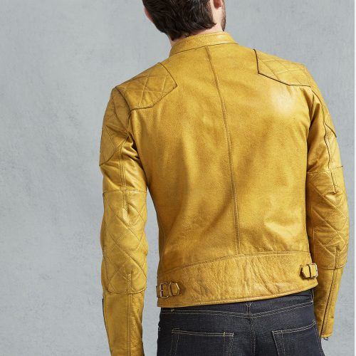 Real Leather Jackets Fashion Outlaw Jacket in Cadmium Yellow Leather Fashion Collection Free Shipping