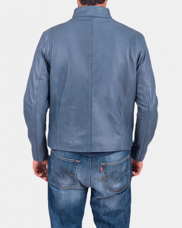 Ionic Blue Leather Jacket Celebrities Leather Jackets Free Shipping