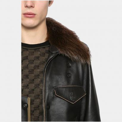 Leather Jacket Man Stylish With Wool Fashion Collection Free Shipping