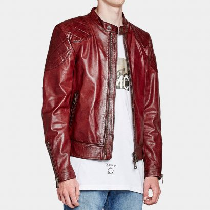 Fashion Men's Brown Leather Jacket Fashion Collection Free Shipping