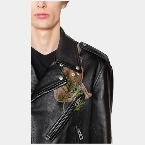 Tan Leather Jacket Mens Black Printed Leather Biker Jacket Fashion Collection Free Shipping