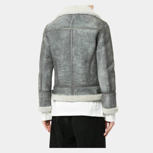 Grey lamb skin leather jacket Fashion Collection Free Shipping