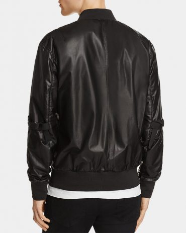 Lamb Bomber Leather Jacket Men Fashion Collection Free Shipping
