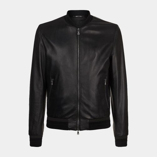 Leather Lambskin Bomber Jacket of Dolce & Gabbana Fashion Collection Free Shipping