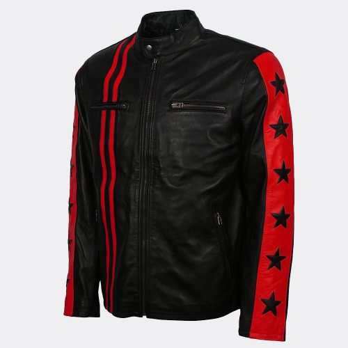 Fashion Red Black Mens Leather Jacket For Sale Fashion Collection Free Shipping