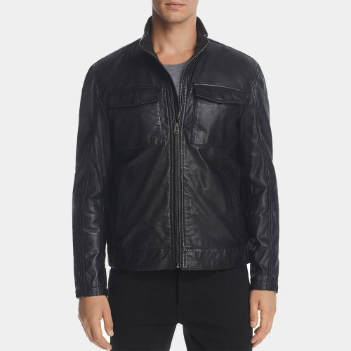 Cole Haan Mens Leather Bomber Jacket Sale Fashion Collection Free Shipping