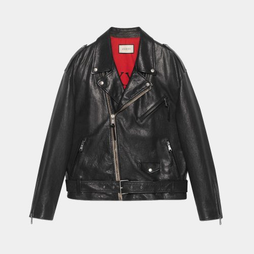 Black Leather Semi Biker Jacket Best Choice of Riders Motorbike Collection Free Shipping