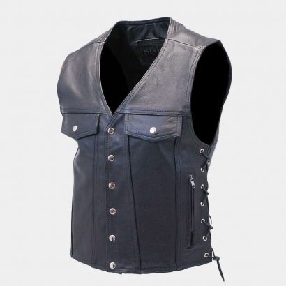 Long leather biker vest for men Fashion Collection Free Shipping