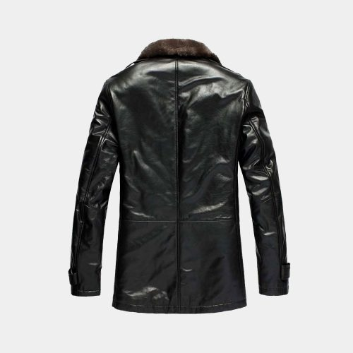 Men's fashion black leather overcoat Fashion Coats Free Shipping
