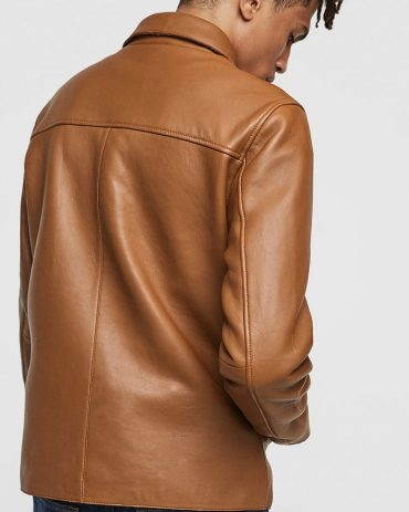 Brown Fashion Real Leather Jacket Mens Fashion Collection Free Shipping