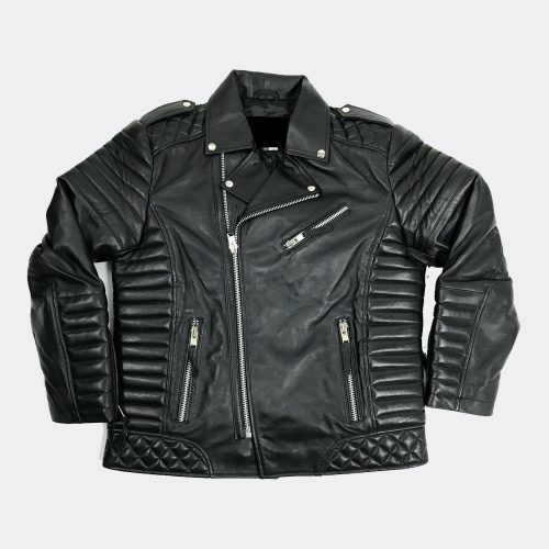 Mens Genuine Lambskin Leather Biker Jacket Motorcycle Black Motorcycle Collection Free Shipping