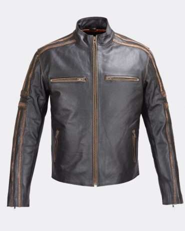 Mens Motorcycle Racer Black Leather Jacket with Concealed Carry Jacket Motorbike Jackets Free Shipping