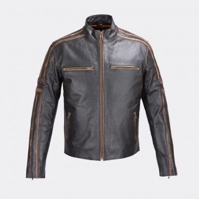 Men's Real Leather Antique Jacket Black Motorcycle Motorcycle Collection Free Shipping