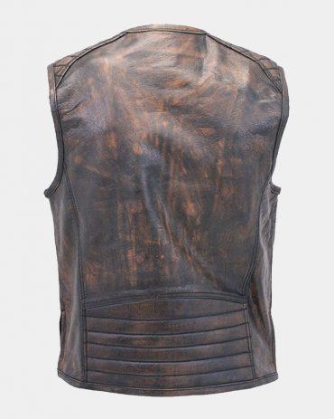 Men's Vintage Brown Quilt Shoulder Leather Vest Fashion Collection Free Shipping