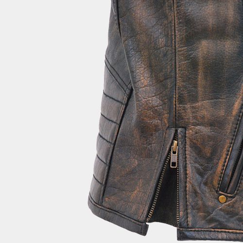 Men's Vintage Brown Quilt Shoulder Leather Vest Fashion Collection Free Shipping