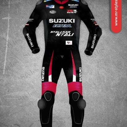 Maverick Vinales Suit 2016 Black & Red Suzuki MotoGP Maverick Vinales Suits Free Shipping