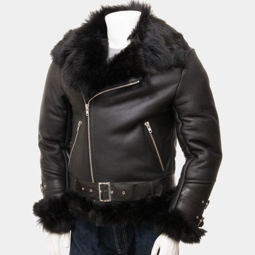 Mens Sheepskin Biker Leather Blazer Jacket Fashion Collection Free Shipping