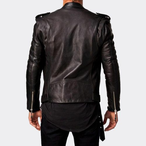 Men Leather Jacket Motorcycle Black Slim Fit Biker Genuine Lambskin Jacket Motorcycle Collection Free Shipping