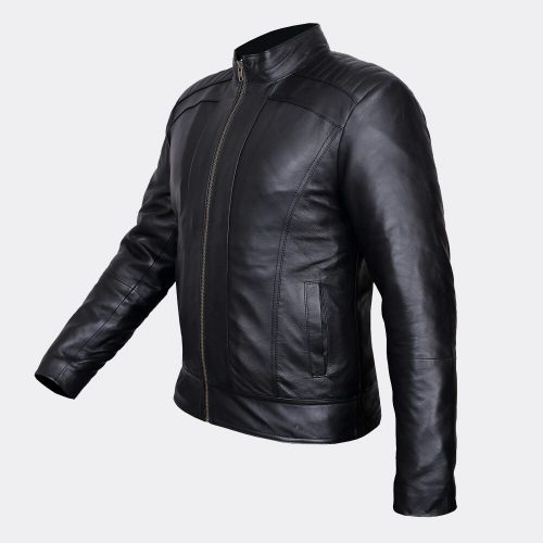 Mens Light Leather Jackets Genuine Strong Leather Black Custom Jacket Fashion Collection Free Shipping