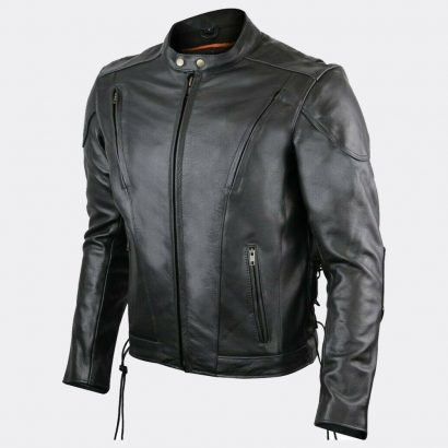 Mens Biker Vented Black Premium Naked Scooter Motorcycle Leather Jacket Motorcycle Collection Free Shipping