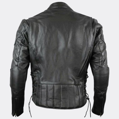 Mens Biker Vented Black Premium Naked Scooter Motorcycle Leather Jacket Motorbike Jackets Free Shipping