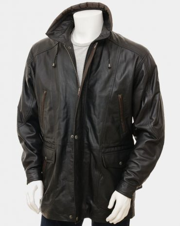 Men's Black Leather Coat Fashion Coats Free Shipping