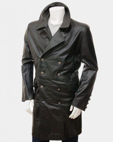 Men's Black Leather Long Coat Fashion Coats Free Shipping