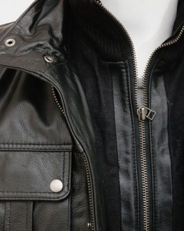 Men's Black Leather Jacket with buttons Fashion Coats Free Shipping