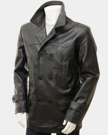 Men's Black Leather Reefer Jacket Fashion Coats Free Shipping