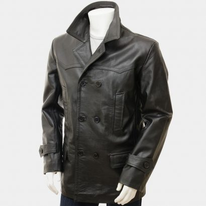 Men's Black Leather Peacoat Fashion Coats Free Shipping