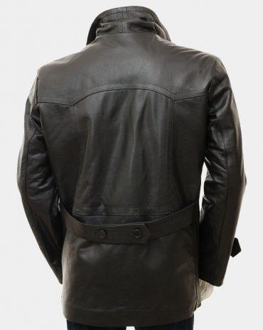 Men's Black Leather Peacoat Fashion Coats Free Shipping