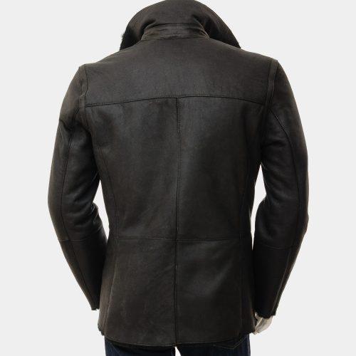 Mens Black Sheepskin Long Mens Leather Dress Coats Fashion Collection Free Shipping