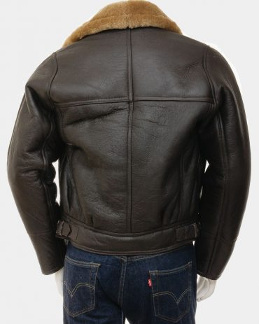 Brown Biker Jacket Mens Crossover Sheepskin Leather Jacket Fashion Collection Free Shipping