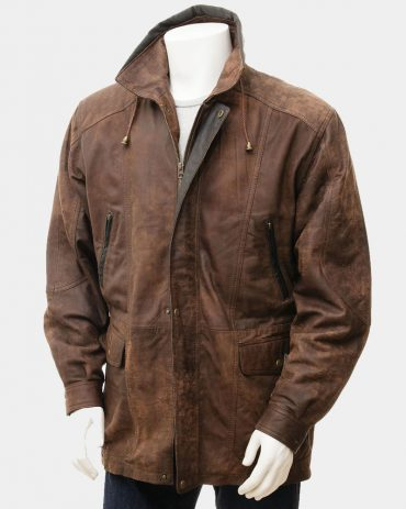 Men's Brown Leather Jacket with button Fashion Coats Free Shipping