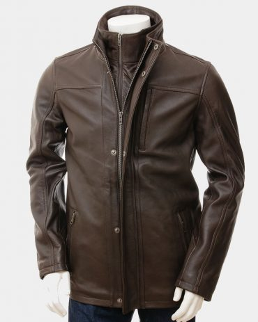 Men's Brown Leather Jacket Fashion Coats Free Shipping