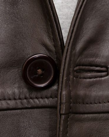Mens Brown Leather Reefer Jacket Fashion Coats Free Shipping