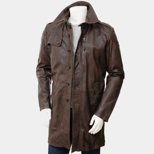 Mens Brown Leather Trench Coat Fashion Coats Free Shipping