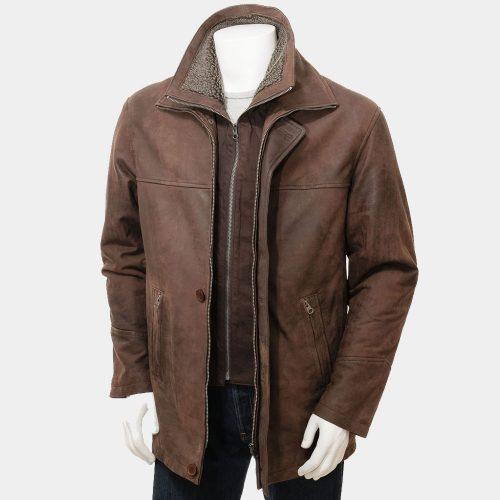 Mens Chestnut Leather Coat Fashion Coats Free Shipping
