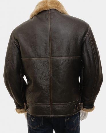 Men's Ginger Sheepskin Aviator Jacket Leather Mens Fashion Collection Free Shipping