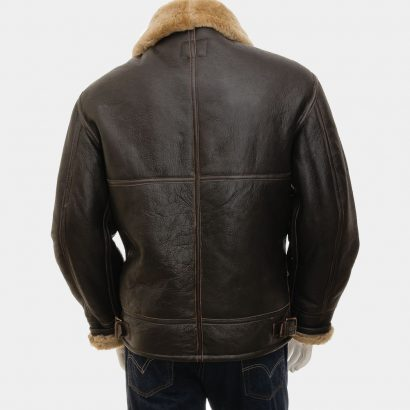 Men's Ginger Sheepskin Aviator Jacket Leather Mens Fashion Collection Free Shipping