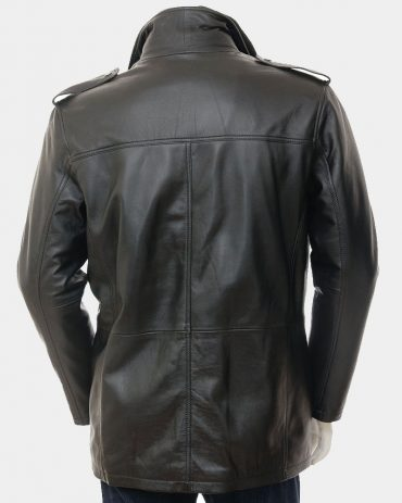 Mens Leather Coat in Black Fashion Coats Free Shipping