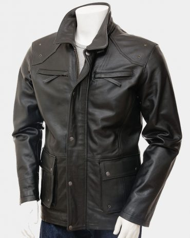 Mens Leather Coat in Black Fashion Collection Free Shipping