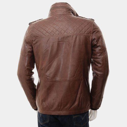 Mens Leather Jacket in Brown Fashion Coats Free Shipping