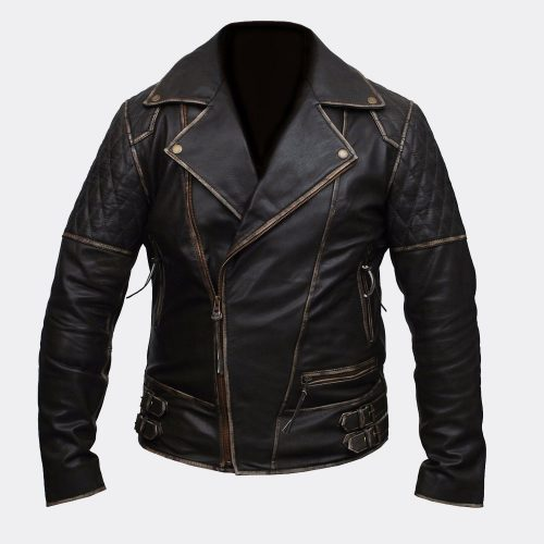 Mens Marlon Brando Biker Motorcycle Vintage Distressed Brown Leather Jacket Motorcycle Collection Free Shipping