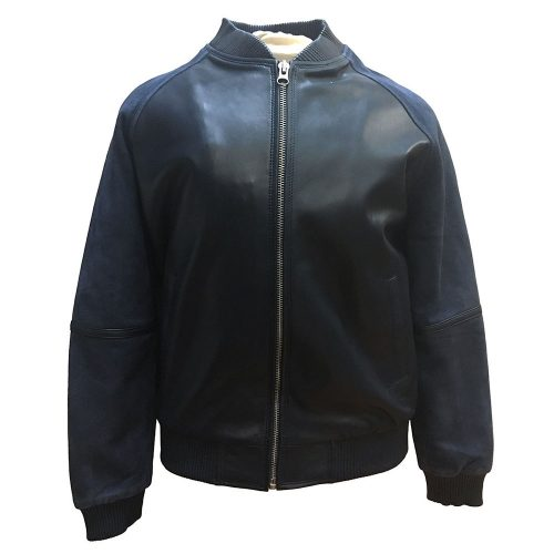 Mens Navy Blue Baseball Varsity Jacket Leather Suede Sleeves Fashion Collection Free Shipping